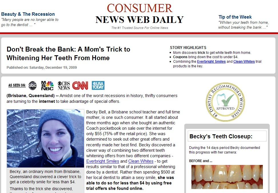 teeth whitening ads. It#39;s an ad that tells the